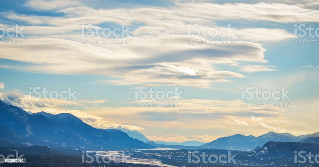 Panoramic View of Columbia Lake from Mt. Swansea Canada - Royalty-free Blue Stock Photo
