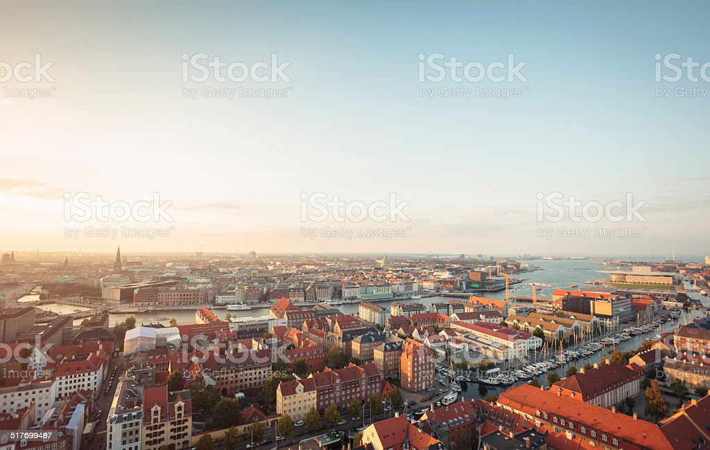 Panoramic view of Copenhagen, Denmark stock photo