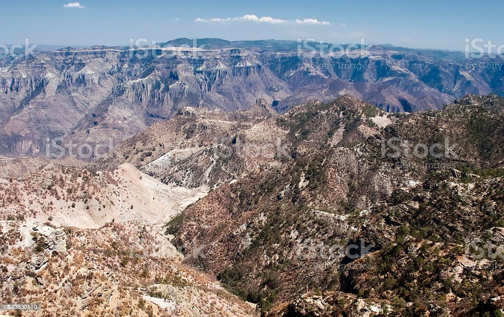 Panoramic view of  Copper Canyon,  Chihuahua, northwestern Mexico stock photo