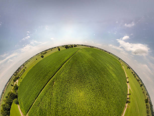 360° panoramic view of corn fields 360° panoramic view of corn fields fish eye lens stock pictures, royalty-free photos & images