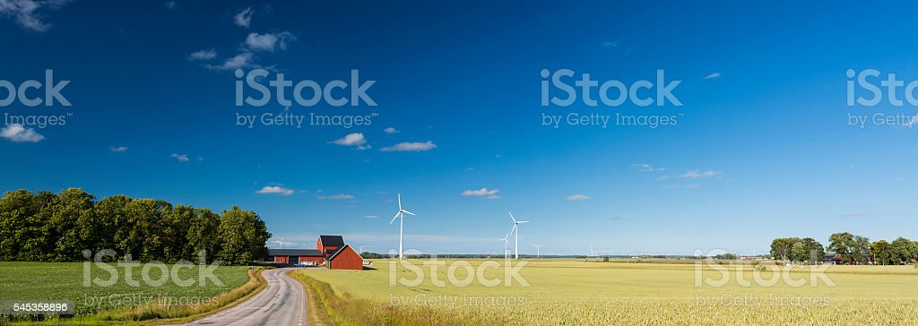 Panoramic view of countryside of Sweden with wind turbines stock photo