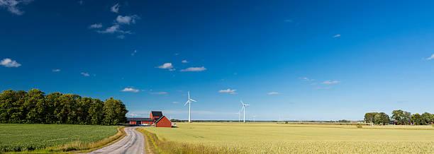 panoramic view of countryside of sweden with wind turbines - summer sweden bildbanksfoton och bilder