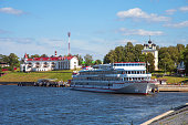 Uglich, Russia - August 11, 2018 : Panoramic view of cruise ships in Uglich pier on a sunny summer day