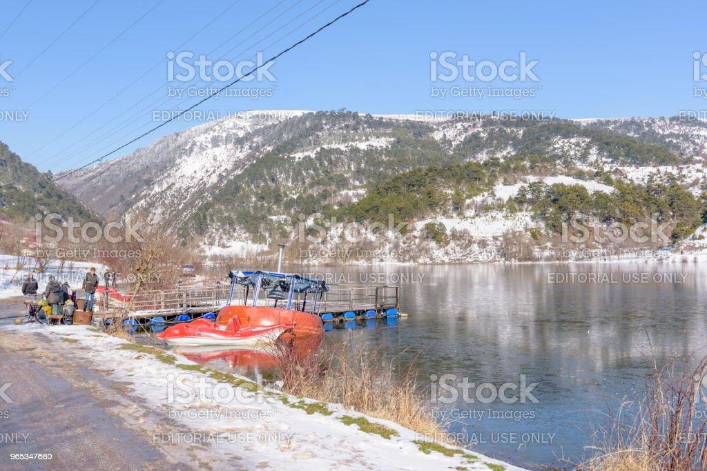 Panoramic view of Cubuk lake in Goynuk zbiór zdjęć royalty-free