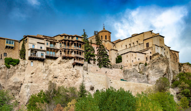 Panoramic view of Cuenca and famous hanging houses, Spain. stock photo