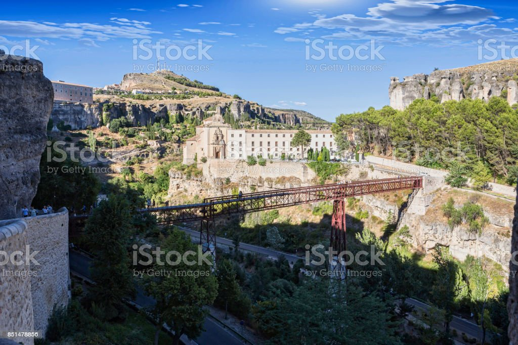 Panoramic view of Cuenca at dusk, Spain stock photo