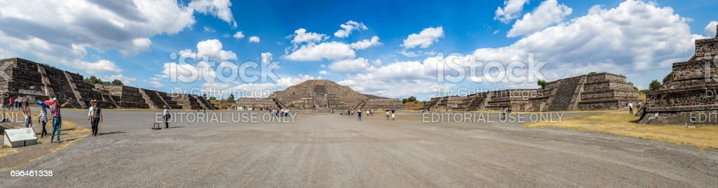 Panoramic view of Dead Avenue and Moon Pyramid at Teotihuacan Ruins - Mexico City, Mexico stock photo