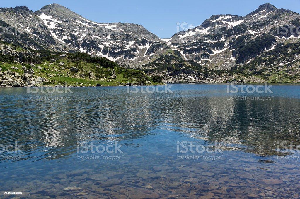 Panoramic view of Demirkapiyski chuki and Dzhano peaks, Popovo lake royalty-free stock photo