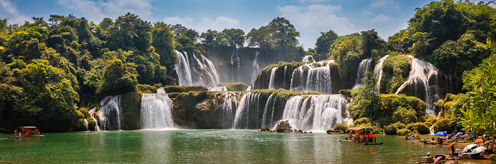 A panorama of Detian (Ban Gioc) Waterfall, which lies on Quay Son River (Guichun River in Chinese), in the karst hills of Guangxi Province in China and Cao Bang Province in Vietnam