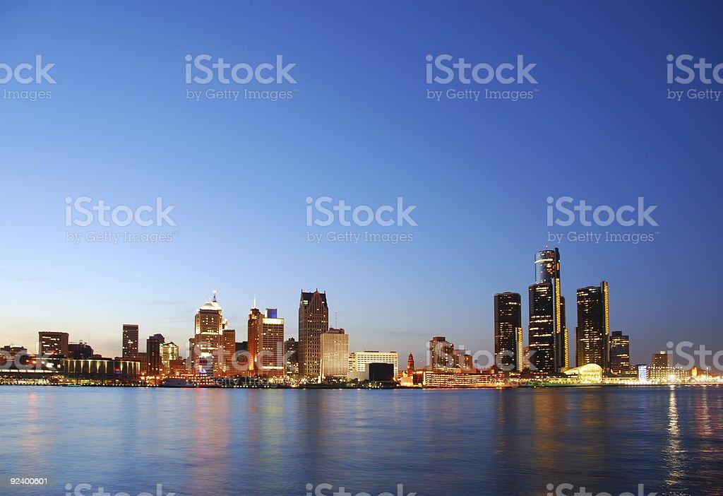 Panoramic view of Detroit Michigan stock photo