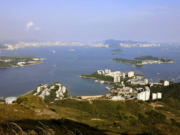 Panoramic view of Discovery Bay from Lo Fu Tau country trail, Lantau, Hong Kong stock photo
