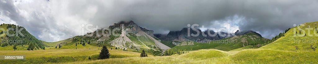 Panoramic view of Dolomites from Fuciade - Trentino - Italy stock photo