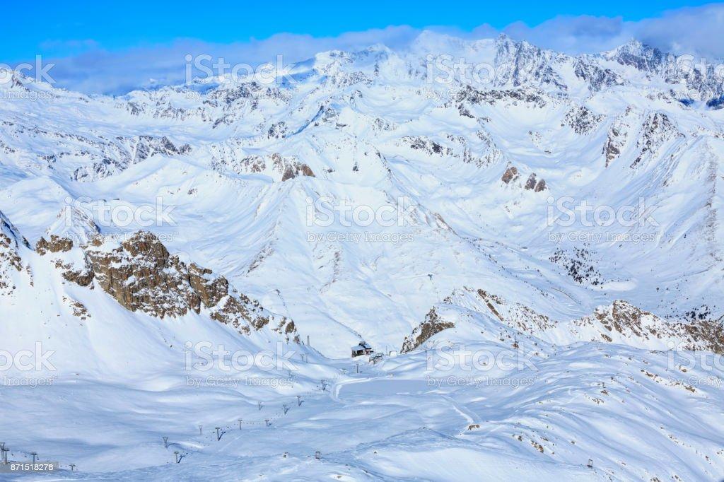 Panoramic view of Dolomites ski resort in Italian Alps Mountains stock photo