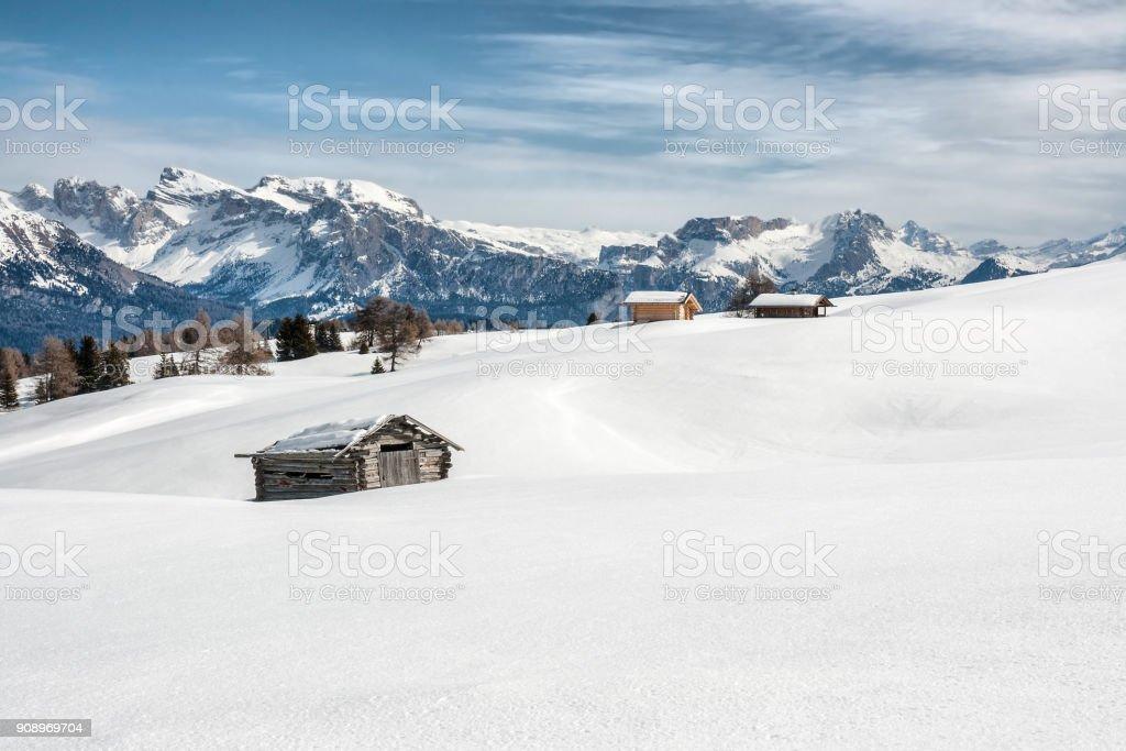 Panoramic view of Dolomiti in Seiser Alm stock photo