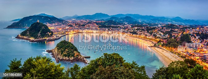 View of Donosti San Sebastian at Dusk from Monte Igueldo. Basque Country. Spain