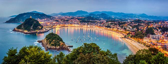 Panoramic view of Donisti san sebastian at sunset. Euskadi, Spain