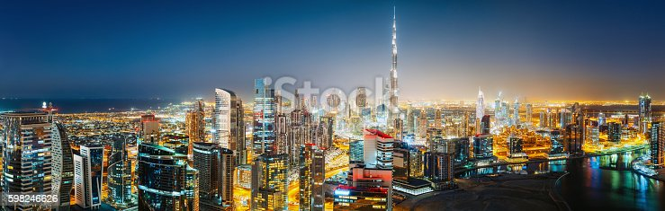 istock Panoramic view of  downtown Dubai by night. Travel background. 598246626
