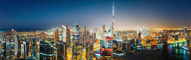 Panoramic view of  downtown Dubai by night. Travel background. – Foto