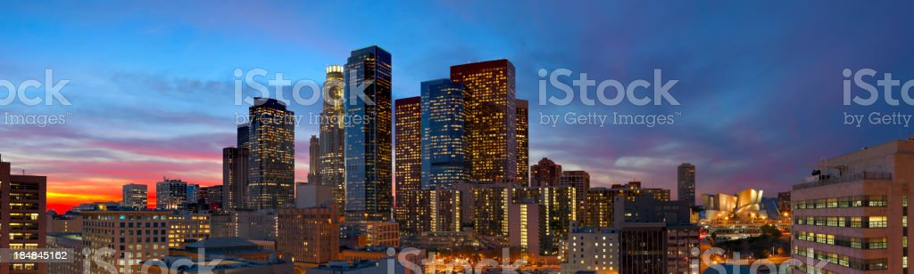 Panoramic View of Downtown Los Angeles at Dusk stock photo