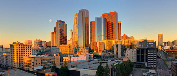 Panoramic view of downtown Los Angeles at sunrise stock photo
