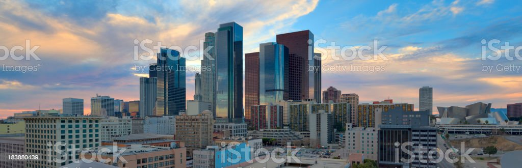 Panoramic View of Downtown Los Angeles at Sunset royalty-free stock photo