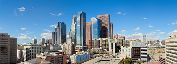 Panoramic View of Downtown Los Angeles stock photo