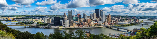 Panoramic View of downtown Pittsburgh Wide panoramic view of downtown Pittsburgh from mt. Washington pittsburgh stock pictures, royalty-free photos & images