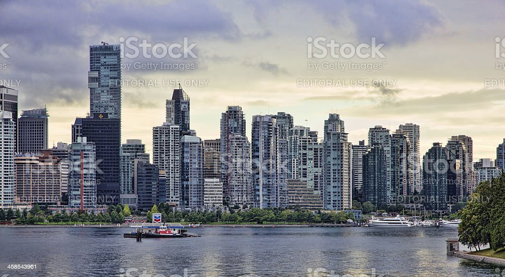 Panoramic View of Downtown Vancouver and Coal Harbour stock photo