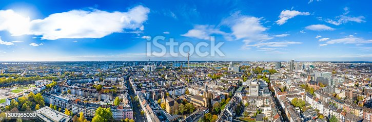 Panoramic view of the City Düsseldorf and the River Rhine in Germany. View from above at 10/21/2020