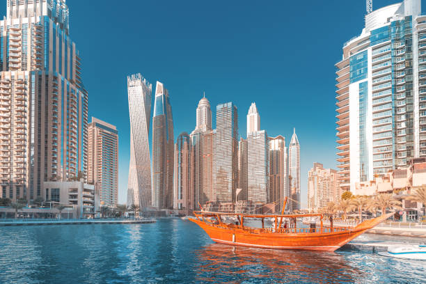 Panoramic view of dubai marina port and tall skyscrapers. Tourist destinations and real estate concept stock photo