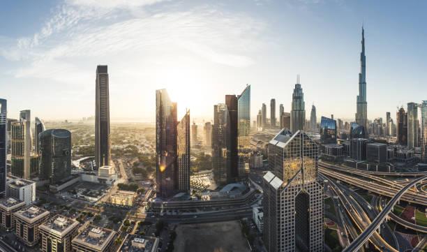Panoramic View of Dubai Skyline stock photo