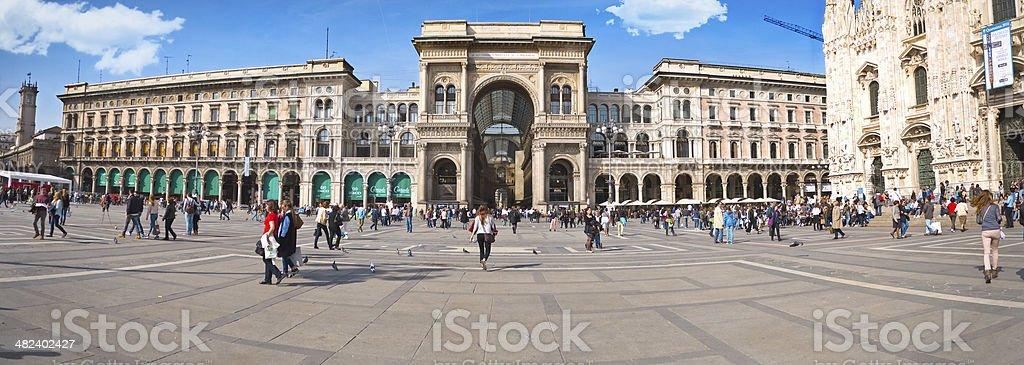 Panoramic view of Duomo Square stock photo
