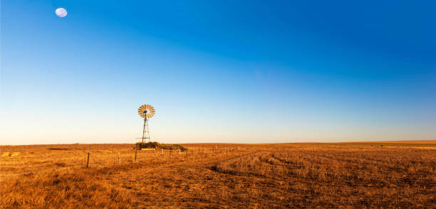 Panoramic view of early morning landscape with a windmill. Panoramic view of early morning landscape with a windmill. outback stock pictures, royalty-free photos & images