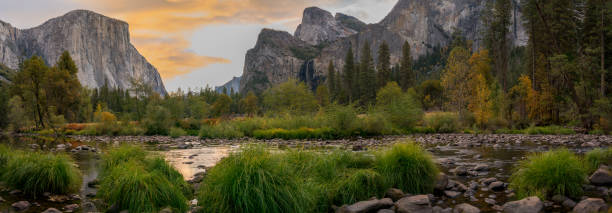 Panoramic View of El Capitan At Sunrise During the Fall Season Panoramic View of El Capitan At Sunrise During the Fall Season el capitan yosemite national park stock pictures, royalty-free photos & images