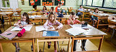 istock Panoramic view of elementary school children in the classroom. 995982704