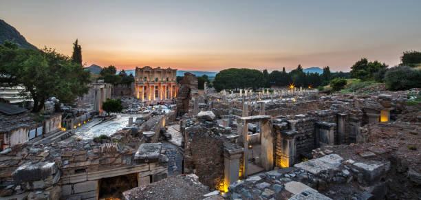 Panoramic view of Ephesus, Selcuk, Izmir, Turkey Panoramic view of Ephesus, Selcuk, Izmir, Turkey ephesus stock pictures, royalty-free photos & images