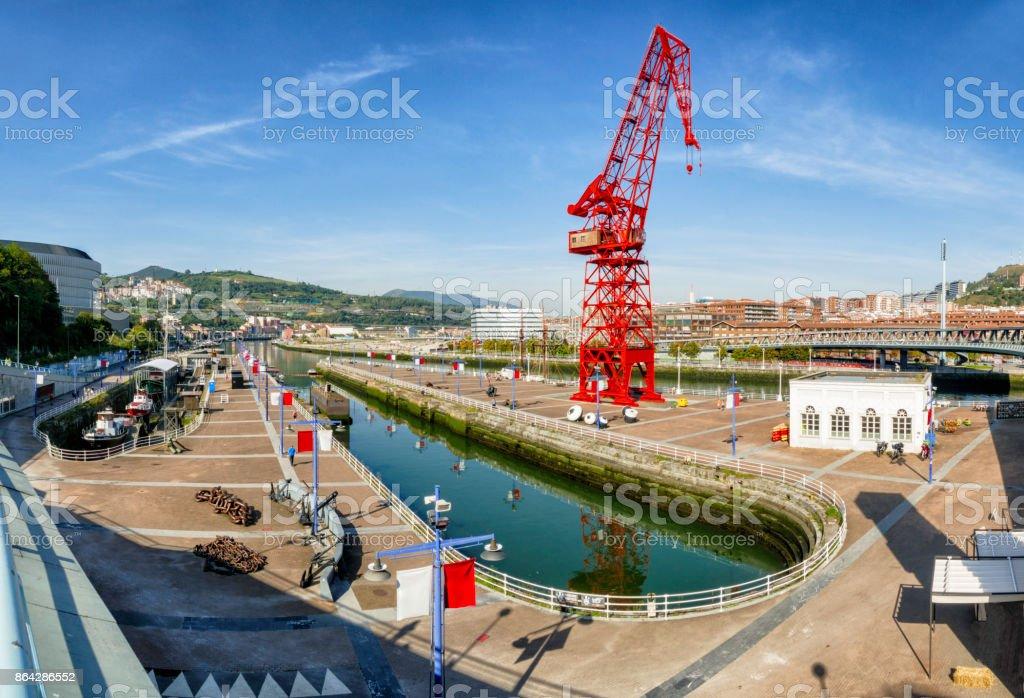 Panoramic view of Euskalduna Shipyard and La Carola crane at Bilbao, Vizcaya. Basque Country, Spain royalty-free stock photo