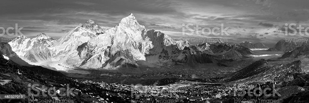 panoramic view of Everest and Nuptse from Kala Patthar royalty-free stock photo