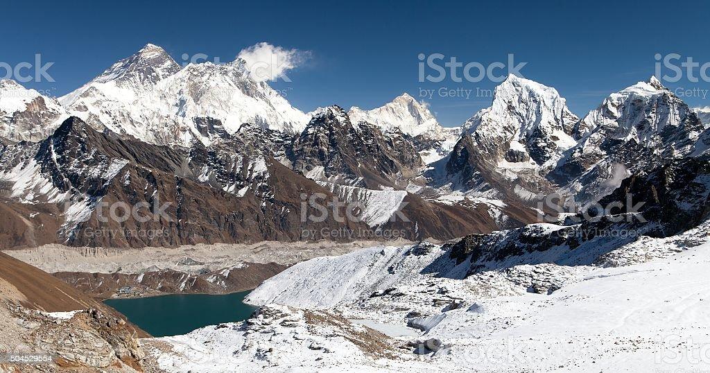 Panoramic view of Everest, Lhotse, Makalu and Gokyo Lake stock photo