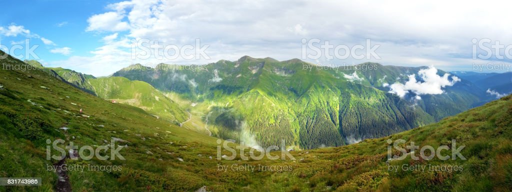 Panoramic view of Fagaras Mountain on summer stock photo