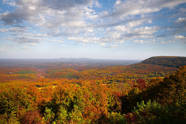 Panoramic view of fall in the Ozarks stock photo