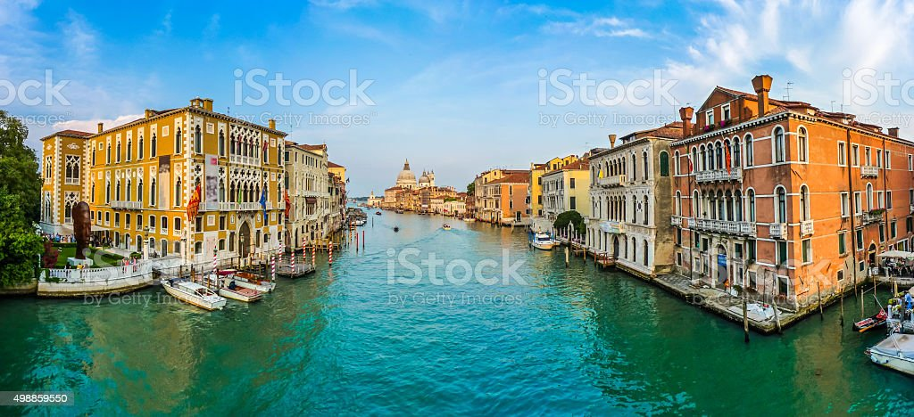 Panoramic view of famous Canal Grande and Basilica Santa Maria stock photo