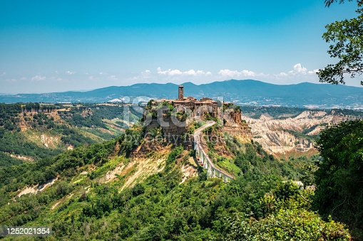 Beautiful panoramic view of famous Civita di Bagnoregio with Tiber river valley at evening, Lazio, Italy
