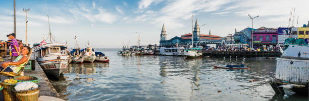 Panoramic view of famous Ver o Peso Market stock photo