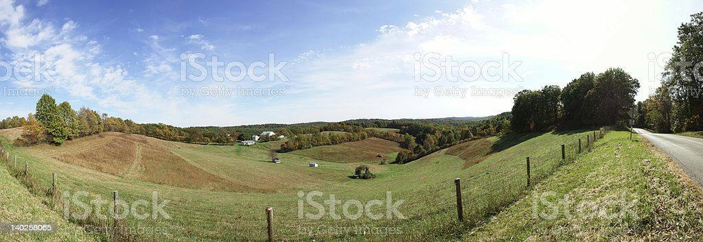 Panoramic View of Farm in Hocking Hills stock photo