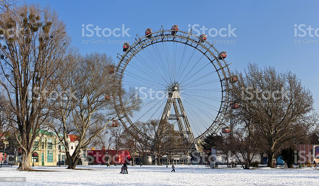 Panoramic view of Ferris wheel in Vienna in winter stock photo