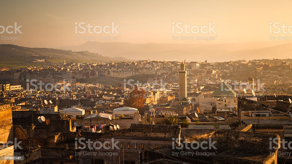 Panoramic view of Fez stock photo