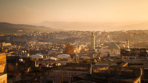 Panoramic view of Fez stock photo