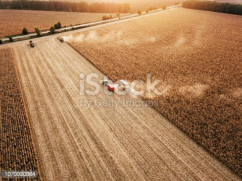 1072634078 istock photo Panoramic view of fields at harvest 1070030364
