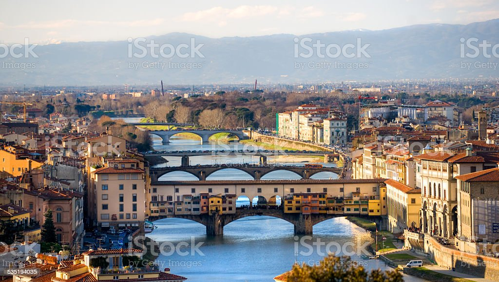 Panoramic view of Florence. stock photo